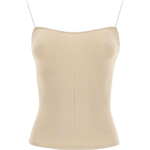LEMAIRE tank-top in maglia xs beige