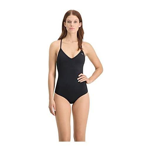 PUMA swim women's v-neck crossback swimsuit tuta da nuoto one piece, nero, l donna