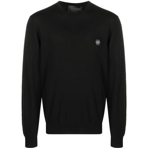 Philipp Plein maglione con applicazione - nero