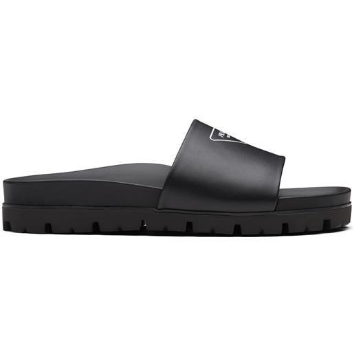 Prada sandali slides con stampa - nero