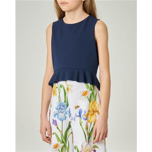 Elsy camicia blu senza maniche in tessuto stretch 40-44