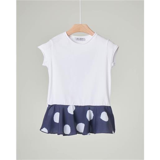 Elsy t-shirt bianca mezza manica con balza blu a pois sul fondo 5-8 anni