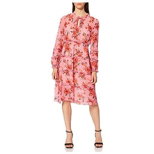 REPLAY w9667.000.73358 vestito, 010 rosa/rosso/verde foresta, l donna