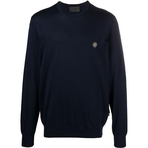 Philipp Plein maglione a girocollo con applicazione - blu