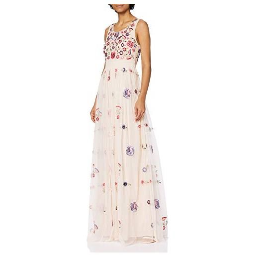 Frock and Frill embellished maxi dress vestito da cocktail, peonia rosa, 44 donna