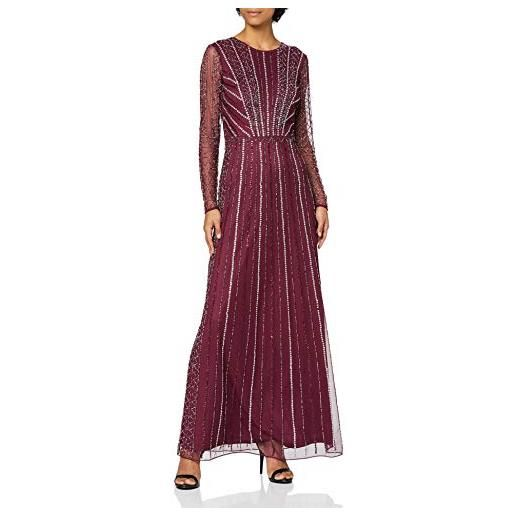 Frock and Frill long sleeve embellished maxi dress vestito da cocktail, blu notte, 44 donna