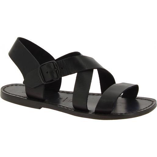 Gianluca - L'artigiano del cuoio sandali alla francescana donna in pelle nera artigianali 508x d nero