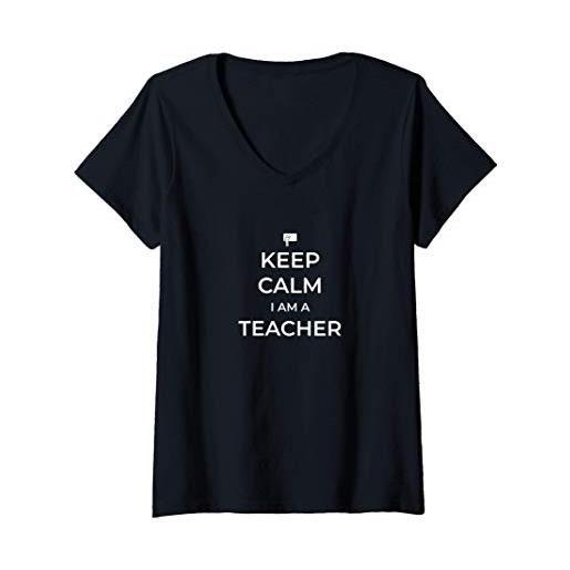 Statement Blend donna keep calm i am a teacher maglietta con collo a v