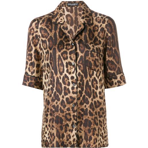 Dolce & Gabbana camicia leopardata - marrone