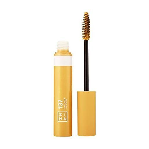 3ina makeup - vegano - cruelty free - the color mascara 137 - giallo mascara colorato per ciglia a lunga tenuta - volume e lunghezza extra - colore intenso