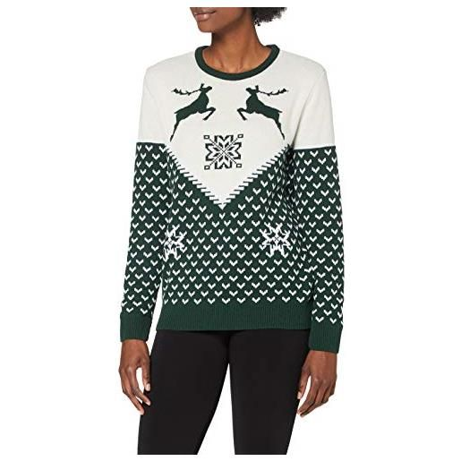 British Christmas Jumpers green vintage dancing stags womens eco christmas jumper pullover, verde, xs donna