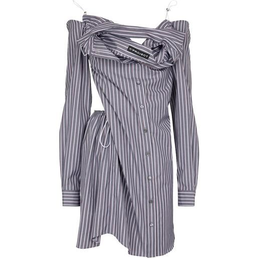 Y/PROJECT abito chemisier a righe in cotone