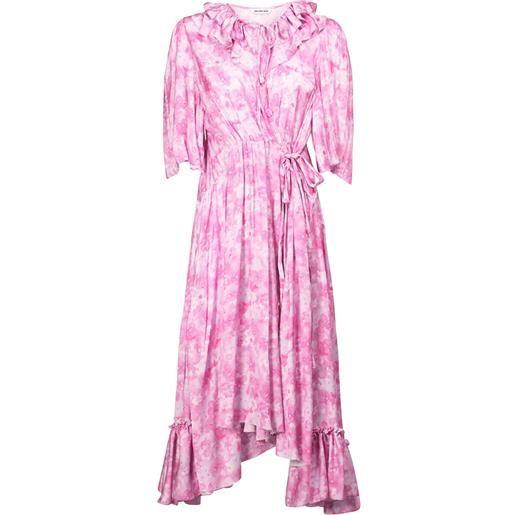 BALENCIAGA vestito in raso stampato con ruches