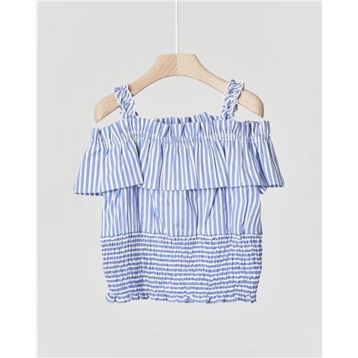 Elsy camicia in cotone a righine azzurre e bianche con spalline e volants 4-7 anni