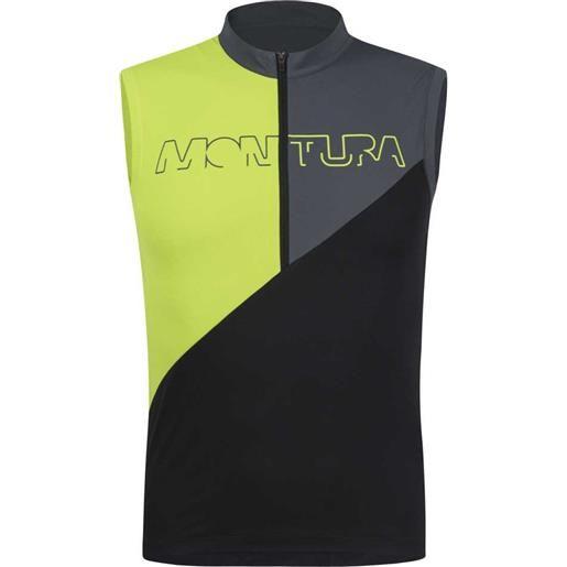 Montura maglietta senza maniche land zip m black / lime green