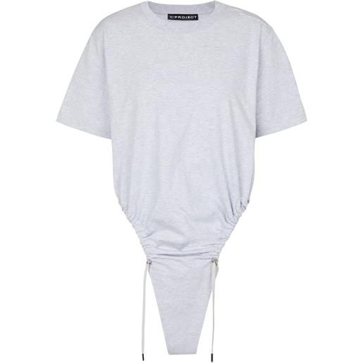 Y/PROJECT t-shirt in cotone con coulisse
