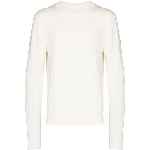 Helmut Lang maglione a girocollo con logo goffrato - bianco