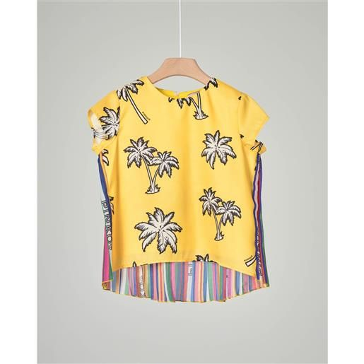 Pinko camicia gialla con stampa palme e inserto plisse multicolor sul retro s-2xl