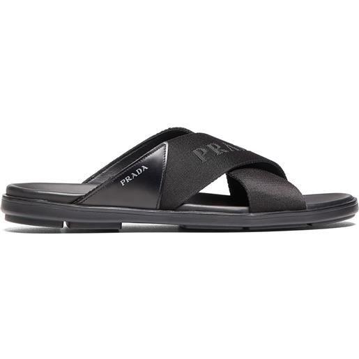 Prada sandali slides con logo - nero