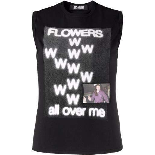 Raf Simons canotta flowers all over me con stampa - nero