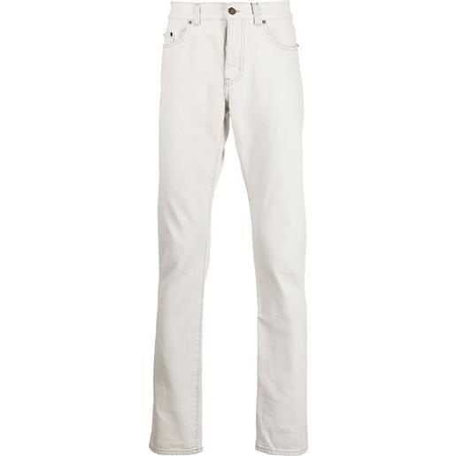 Saint Laurent jeans slim con cuciture a contrasto - bianco