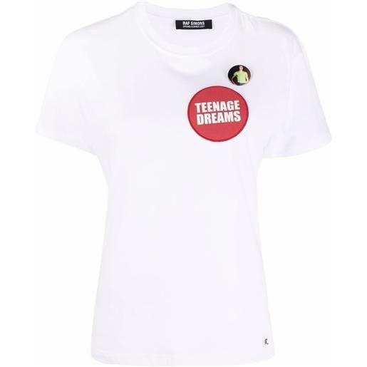 Raf Simons t-shirt con applicazione teenage dreams - bianco