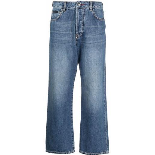 Philipp Plein jeans a gamba ampia iconic plein - blu