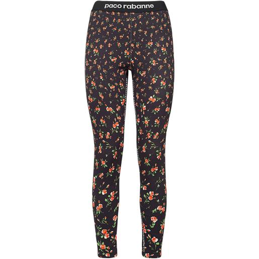 PACO RABANNE leggings in jersey stretch con logo