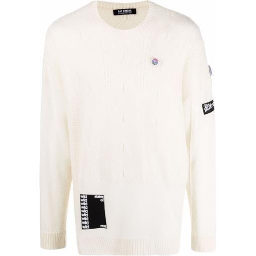 Raf Simons maglione con applicazione - bianco