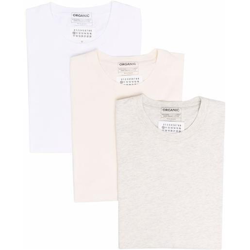 Maison Margiela set di 3 t-shirt - toni neutri