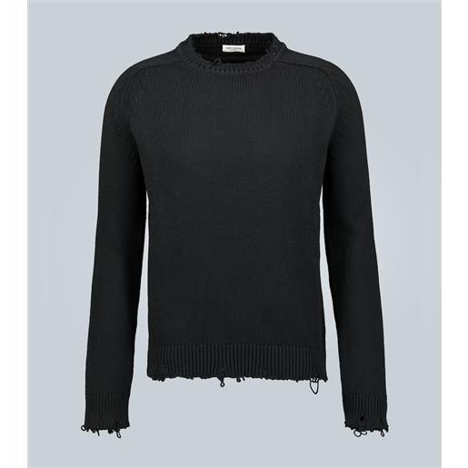 Saint Laurent pullover distressed in cotone