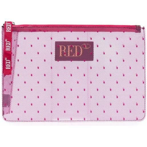 RED(V) clutch con stampa - rosa