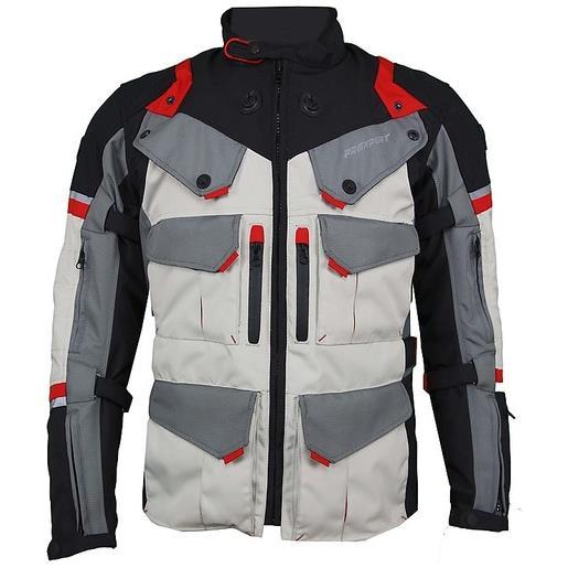 Prexport giacca moto in tessuto prexport goteborg 3 strati nero rosso