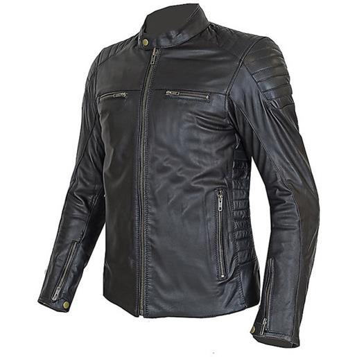 Prexport giacca moto donna tecnica in vera pelle morbidissima pxt stripes lady all black