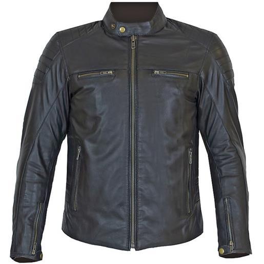 Prexport giacca moto tecnica in vera pelle morbidissima pxt stripes all black