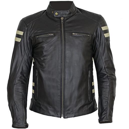 Prexport giacca moto tecnica in vera pelle morbidissima pxt stripes black beige