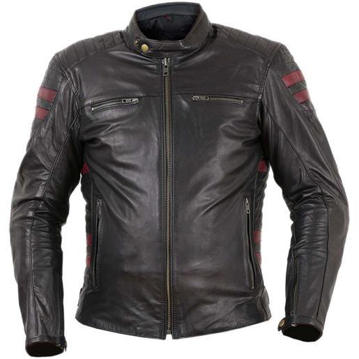 Prexport giacca moto tecnica in vera pelle morbidissima pxt stripes black red bordeaux