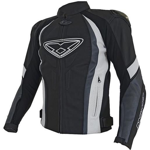 Prexport giacca moto racing in pelle prexport strike sport nero bianco grigio