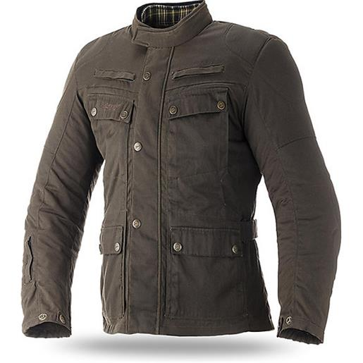 Seventy giacca moto tecnica in tessuto seventy jc-57 urban cotone certato verde khaki