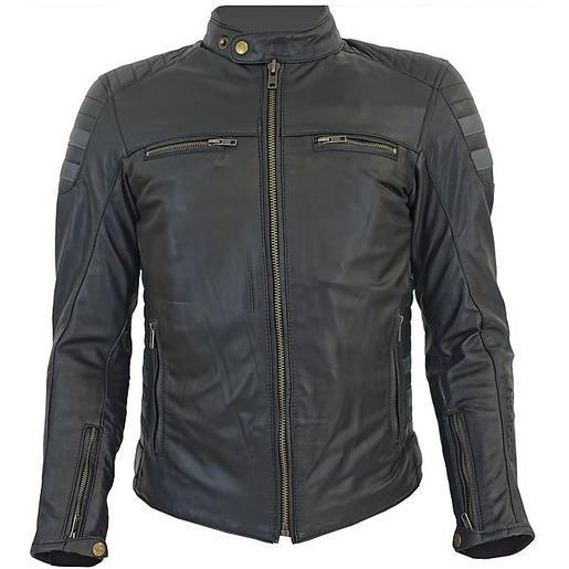Prexport giacca moto tecnica in vera pelle morbidissima pxt stripes black titan