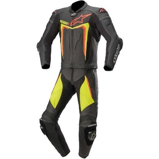 Alpinestars tuta divisibile moto in pelle racing alpinestars motegi v3 nero giallo rosso fluo 2pc