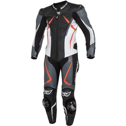 Berik tuta moto professionale in pelle berik 2.0 intera ls1-191314-bk rush nero grigio rosso