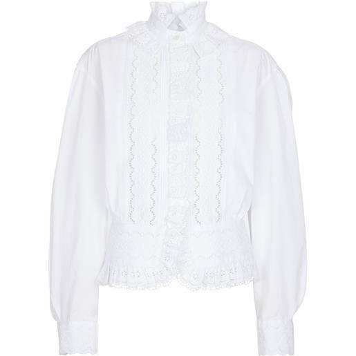 Paco Rabanne camicia in cotone sangallo