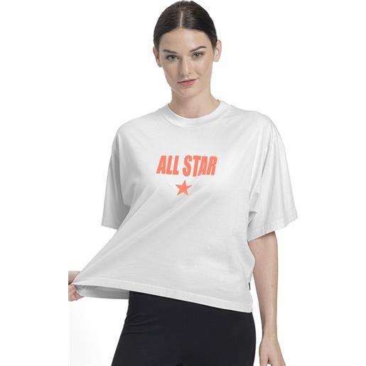 Converse t-shirt boxy all star donna bianco