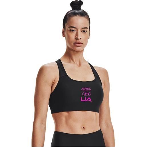 Under Armour bra crossback graphic donna nero fuxia
