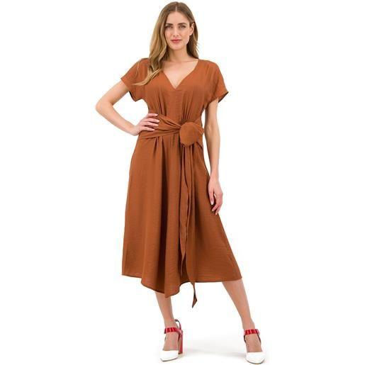 Demetra Closet abito in viscosa effetto lino vintage