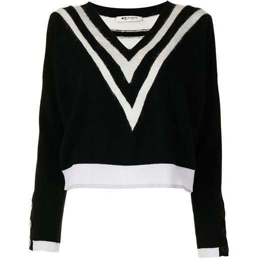 Ports 1961 maglione con motivo chevron - nero