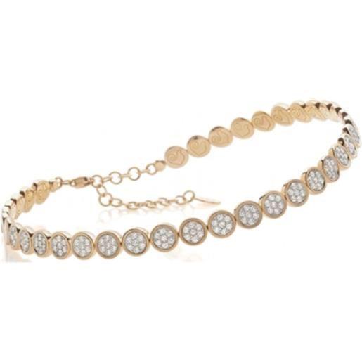 Chantecler choker paillettes in oro rosa e diamanti