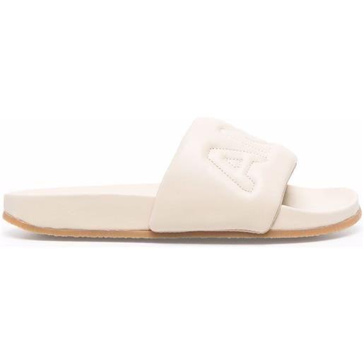 AMBUSH sandali slides con ricamo - toni neutri
