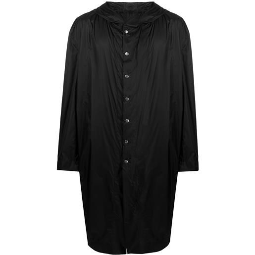 Rick Owens cappotto con cappuccio - nero